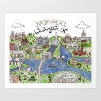 dc Art Prints featuring Washington DC by Brooke Weeber