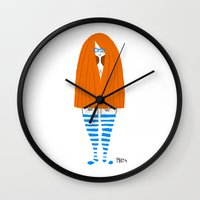 socks Wall Clocks featuring New Socks by Phil McAndrew
