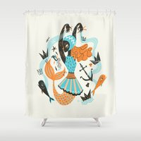 fish Shower Curtains featuring Go Fish by Karl James Mountford