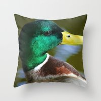 duck Throw Pillows featuring Duck by jamester42