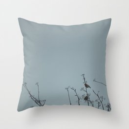 Bullfinches on a cold day Throw Pillow