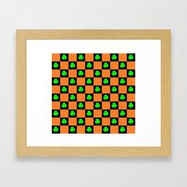 green orange black clover pattern Framed Art Print