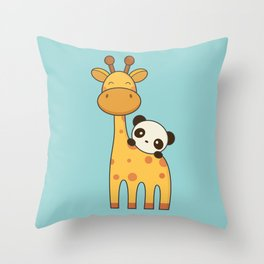 Cute and Kawaii Giraffe and Panda Throw Pillow