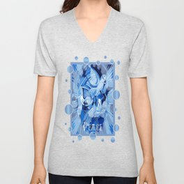 Dove With Celtic Peace Text In Blue Tones Unisex V-Neck