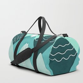 Modern turquoise abstract mountains watercolor cut out climb illustration Duffle Bag