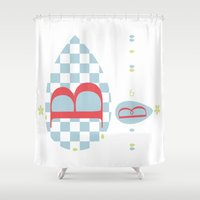 bed Shower Curtains featuring Bed & Bretzel by feigenherz BAM
