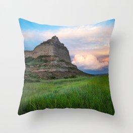 Scottsbluff - Landscape in Evening Light in Western Nebraska Throw Pillow
