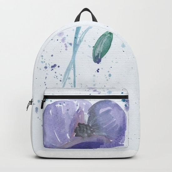 Blue Poppy flower illustration painting in watercolor Backpack