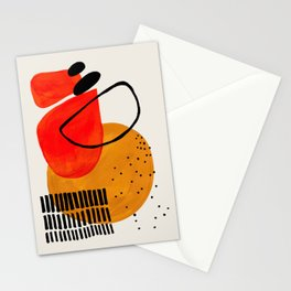 Mid Century Modern Abstract Colorful Art Yellow Ball Orange Shapes Orbit Black Pattern Stationery Cards