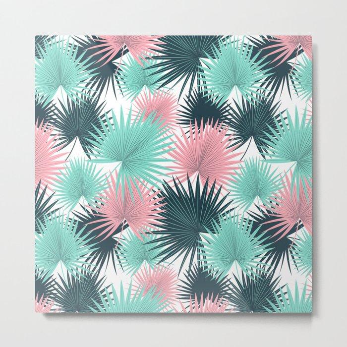 Pastel Palm Leaves Metal Print