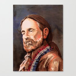 Willie Nelson Acrylic Painting Canvas Print