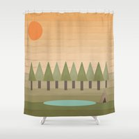 camping Shower Curtains featuring Camping Out by Tammy Kushnir