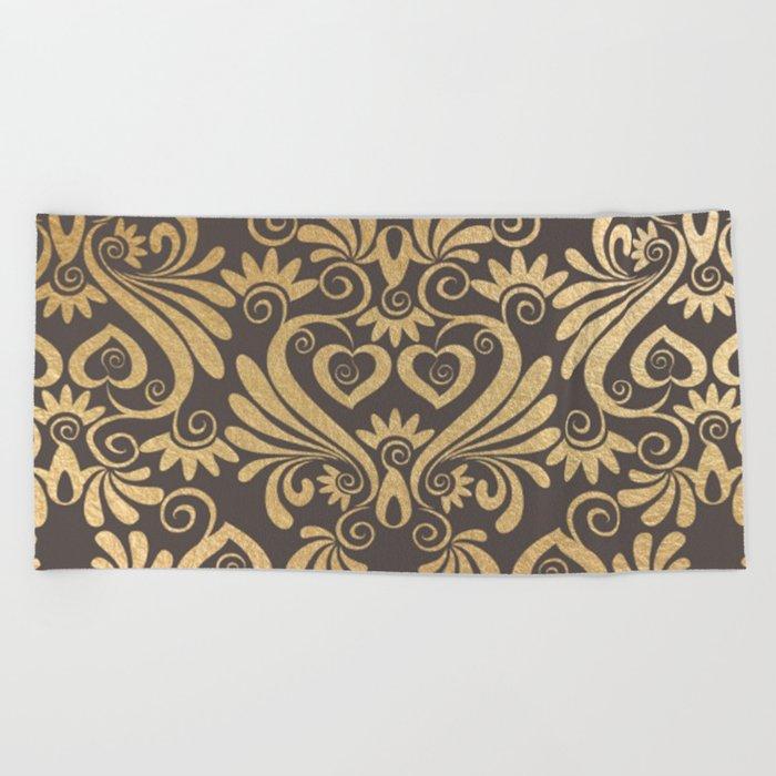 Gold swirls damask #5 Beach Towel