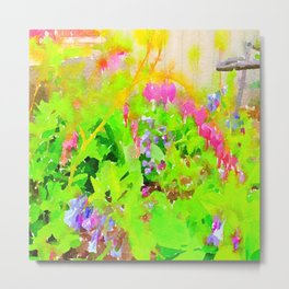 Abstract Spring Flowers Bleeding Hearts and Virginia Bluebells Metal Print
