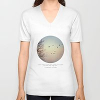 birds V-neck T-shirts featuring Caged Birds by Tina Crespo