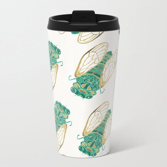 Cicada – Green & Gold Metal Travel Mug