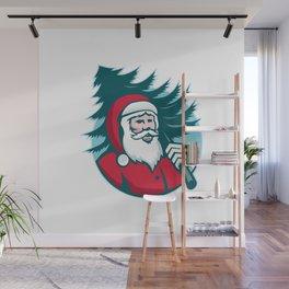 Santa Claus Carrying Christmas Tree Retro Wall Mural