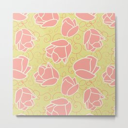 Spring Patio Collection - Coral Tulip Swirl Metal Print