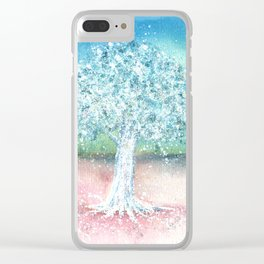 White Tree Illustration Art Clear iPhone Case