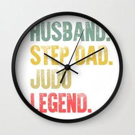 Funny Men Vintage T Shirt Husband Step Dad Judo Legend Wall Clock