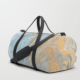Marble turquoise gold silver Duffle Bag