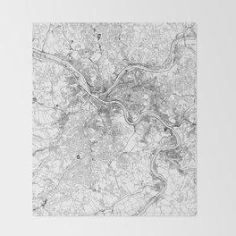 Pittsburgh White Map Throw Blanket