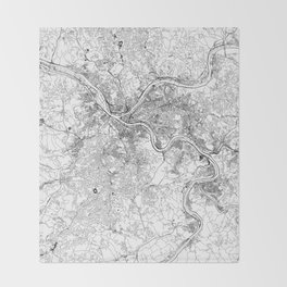 Pittsburgh White Map Throw Blanket