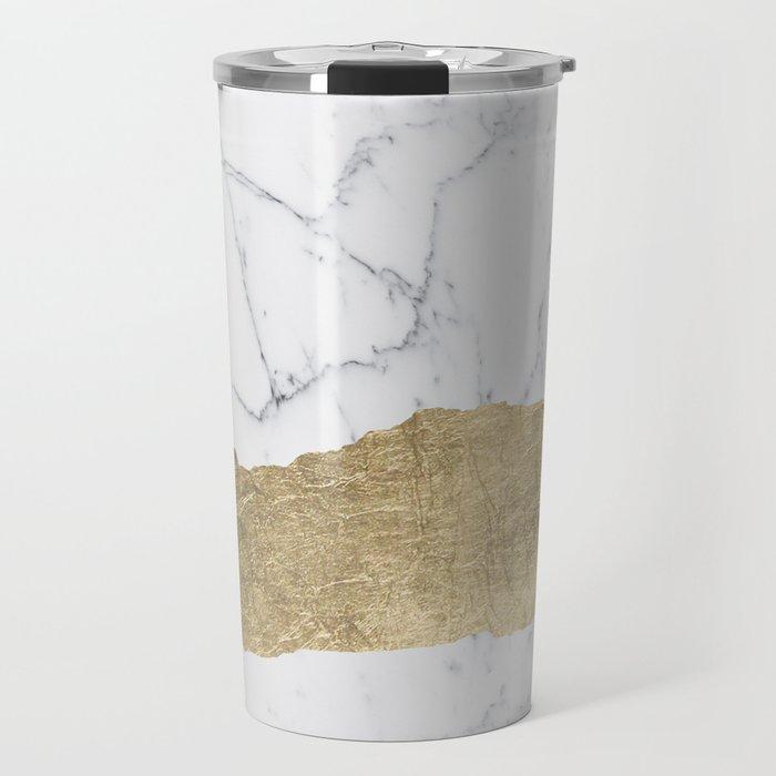 Elegant faux gold foil gray white modern marble Travel Mug