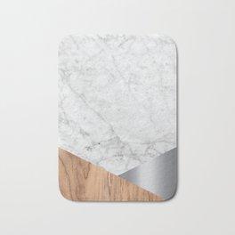 White Marble - Wood & Silver #157 Bath Mat