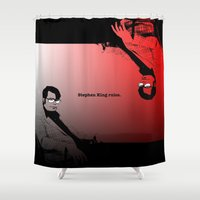stephen king Shower Curtains featuring Stephen King Rules by Hazel Bellhop