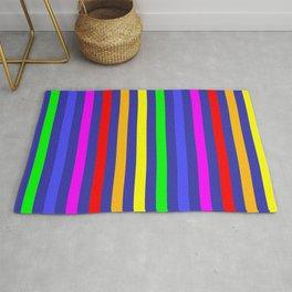 Colotful Rainbow & Blue color stripes pattern  Rug