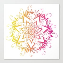 Mandala Pink Yellow By Sonia H. Canvas Print