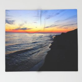 Sunset Over Lake Michigan Throw Blanket