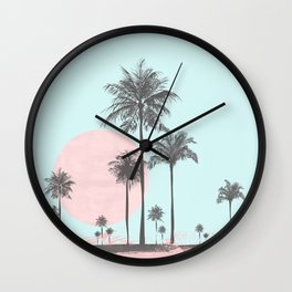Beachfront palm tree soft pastel sunset graphic Wall Clock