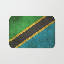 Old and Worn Distressed Vintage Flag of Tanzania Bath Mat
