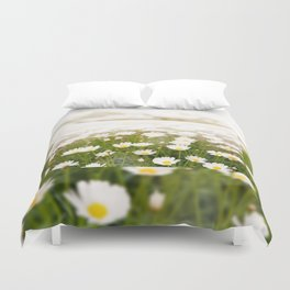White herb camomiles clump Duvet Cover