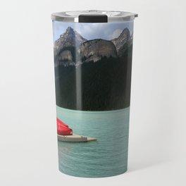 Lake Louise Red Canoes Travel Mug