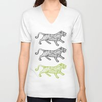 tigers V-neck T-shirts featuring Three Tigers by YAP9