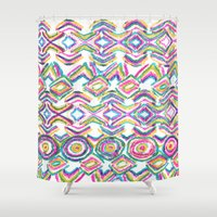 ikat Shower Curtains featuring ikat by  Ray Athi