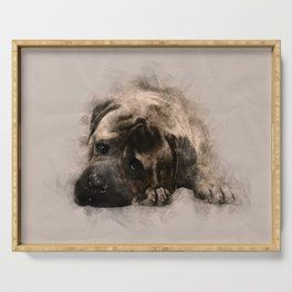 Bullmastiff Puppy Sketch Serving Tray