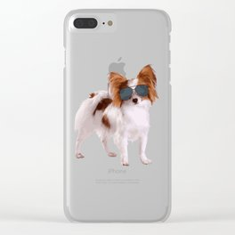 Papillon Dog In Aviator Best Gift For Dog Lover Clear iPhone Case