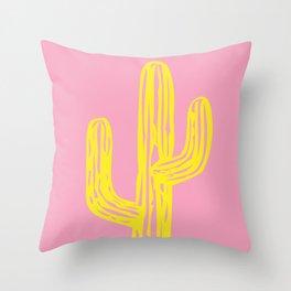 Pink and Yellow Cactus Throw Pillow