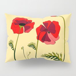 Adorable Red Poppies Unfold Pillow Sham