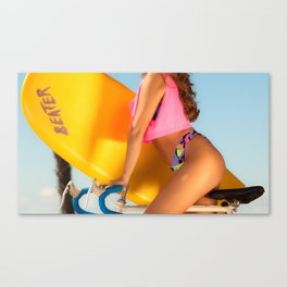 Girl on bicycle Canvas Print