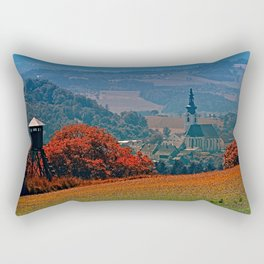 A hunting perch, a village and some vivid scenery Rectangular Pillow