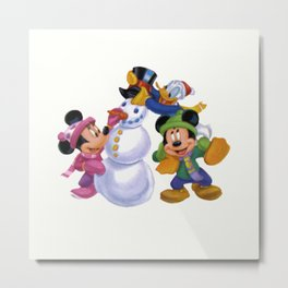 Happy Mickey with friends Metal Print