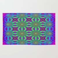 psychedelic art Area & Throw Rugs featuring PSYCHEDELIC flowers by 2sweet4words Designs