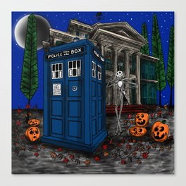 Haunted Timelord Before Christmas Canvas Print