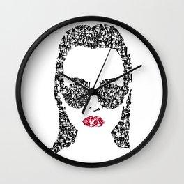 Kanji Calligraphy Art :woman's face#1 Wall Clock