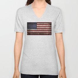 USA flag - in Super Grunge Unisex V-Neck